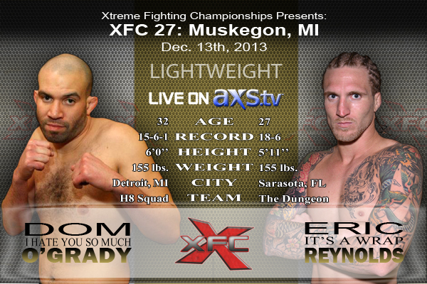XFC 27 - Dom Ogrady vs Eric Reynolds Live on Axstv